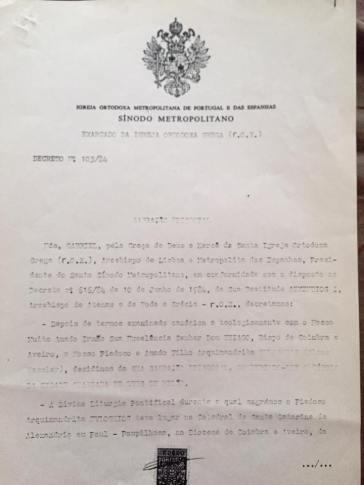 Documento consacrazione di Vladica Evloghios da parte di Metropolita Gabriele