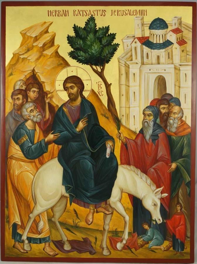 Domenica delle palme. Ingresso di Cristo a Gerusalemme . Inizio della Settimana Santa